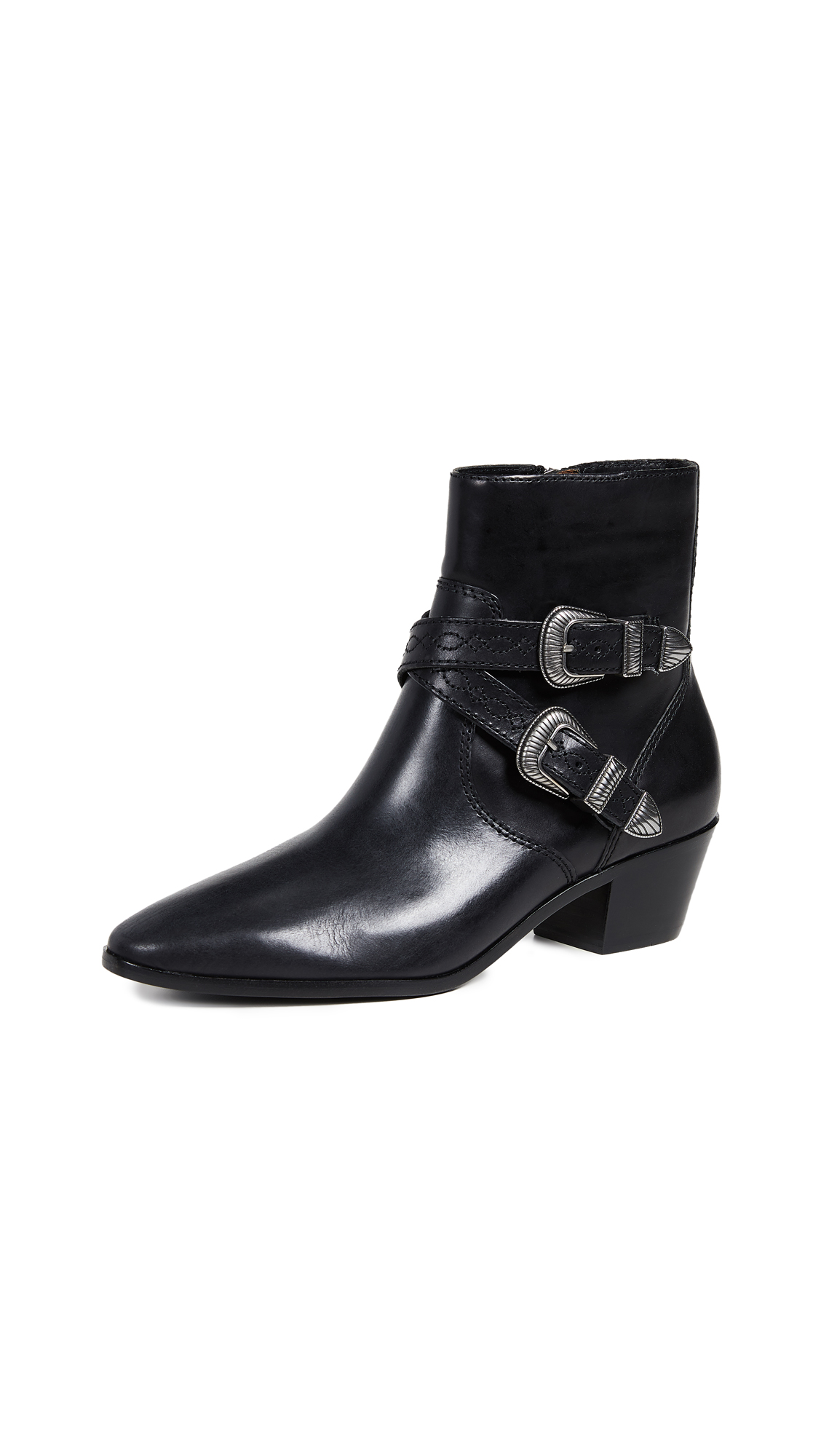 Frye Ellen Buckle Short Boots - Black