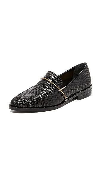 Freda Salvador Light Croco Loafers - Black