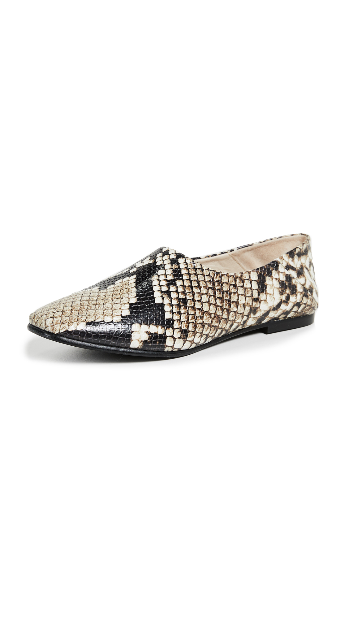 FREDA SALVADOR WOMEN'S BABOUCHE SNAKE EMBOSSED LEATHER FLATS