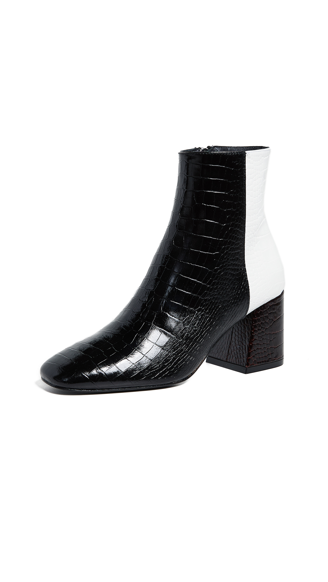 FREDA SALVADOR Women'S Charm Square Toe Croc-Embossed Patent Leather Booties in Tri Color