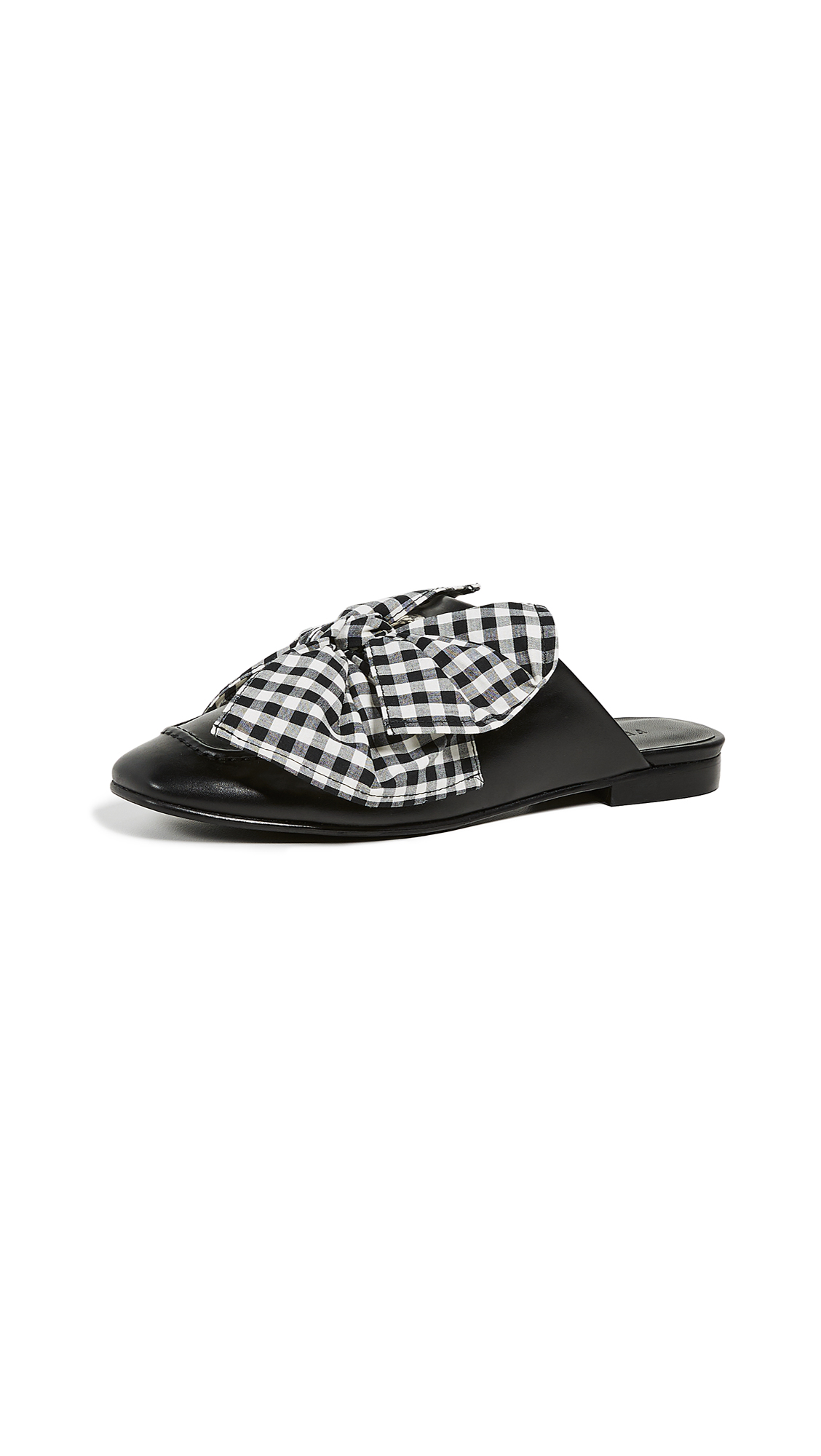 Women'S Removable-Tie Flat Mules in Black/Gingham