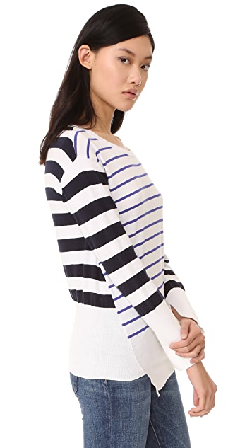 Fred and Sibel Striped Asymmetrical Sweater