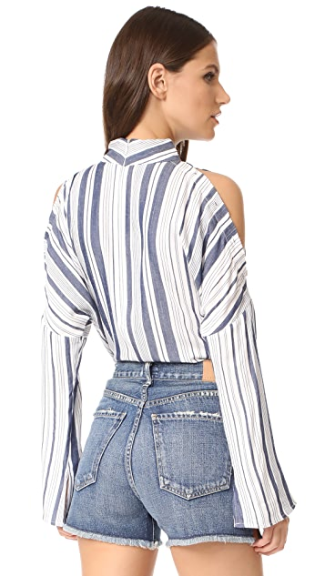 Fred and Sibel Button Up Cold Shoulder Shirt