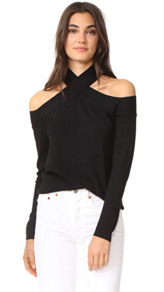 Fred and Sibel Off Shoulder Halter Sweater Top