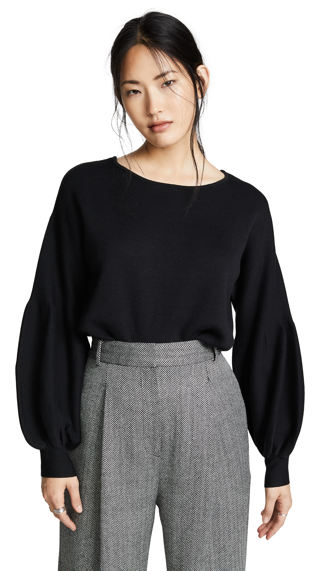 FRED AND SIBEL Puff Sleeve Sweater in Black