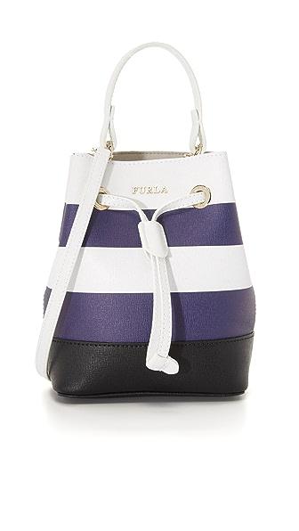 Furla Stripe Stacy Mini Bucket Bag - Chalk/Navy