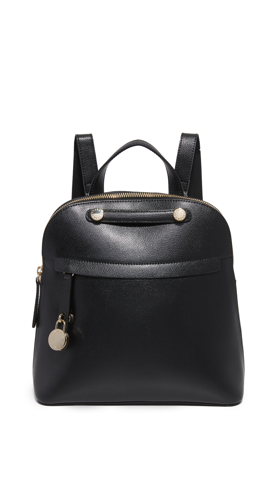 A petite Furla backpack in pebbled leather. Zip front pocket with a polished logo lock. The top zip opens to a lined, 2 pocket interior. Locker loop and adjustable shoulder straps. Dust bag included. Leather: Cowhide. Weight: 28