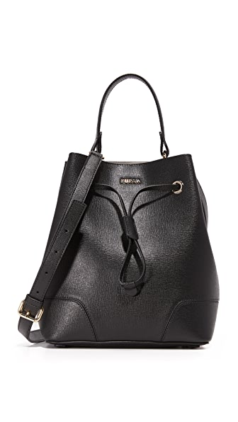 Furla Stacy Small Drawstring Bucket Bag - Onyx
