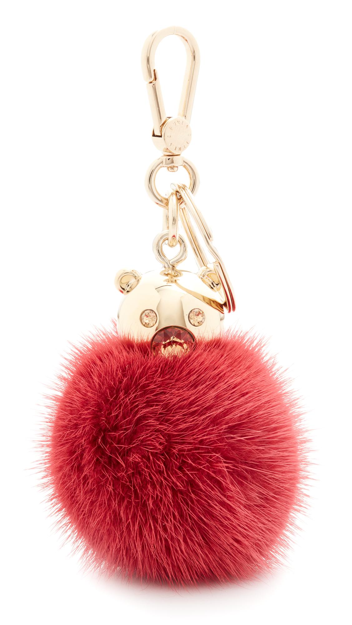 furla female furla bubble keyring fur pom pom peperoncino