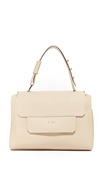 Furla Capriccio Medium Top Handle Bag In Acero