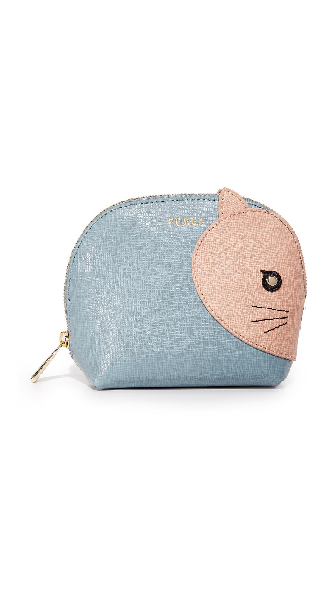 furla female furla allegra small cat cosmetic case azzurro