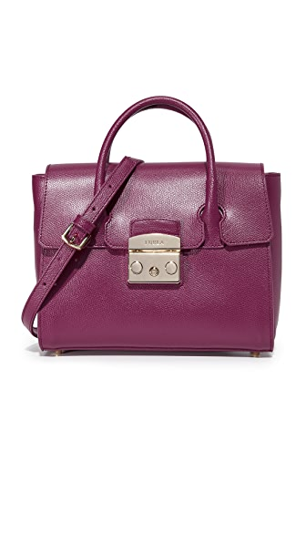 Furla Metropolis Small Satchel In Amarena