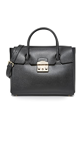Furla Metropolis Medium Satchel In Onyx
