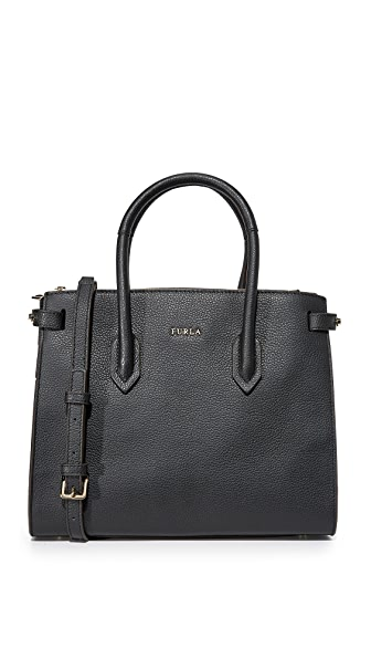 Furla Pin Small Tote In Onyx