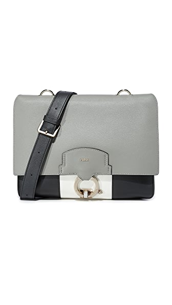 Furla Scoop Medium Satchel In Onyx/Argilla/Petalo