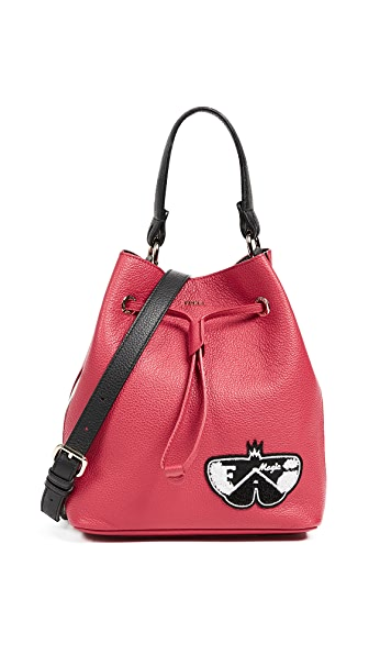 Furla Stacy Post Small Drawstring Bag In Ruby/Onyx/Petalo