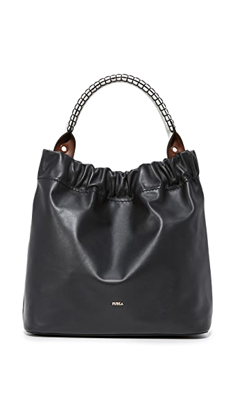 Furla Matilde Hobo Bag - Onyx/White/Chocolate