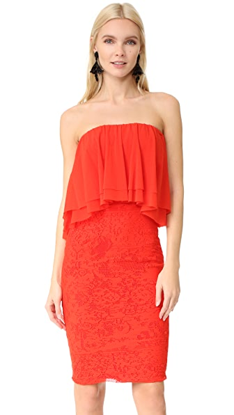 Fuzzi Strapless Dress In Fiamma