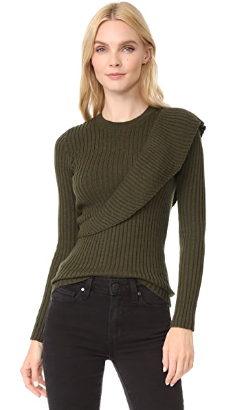 Fuzzi Ruffle Sweater - Military Green