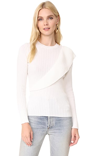 Fuzzi Ruffle Sweater - White