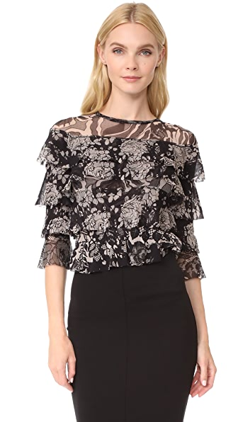 Fuzzi Stampa Layered Blouse - Nero