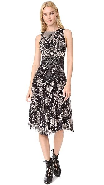 Fuzzi Stampa Layered Lace Sleeveless Dress - Nero