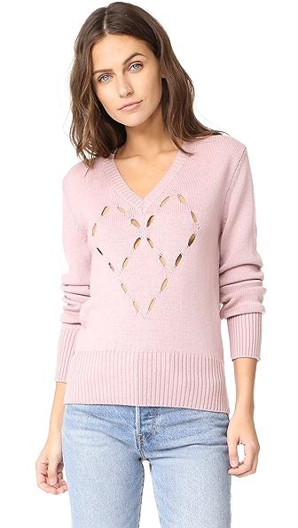 Fuzzi Heart Sweater In Light Pink