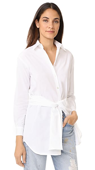 Fuzzi Long Sleeve Button Down Shirt - White