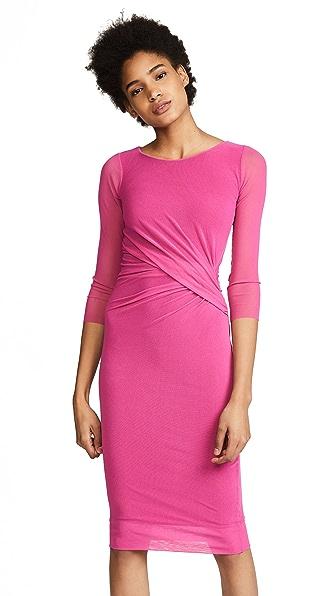 Fuzzi 3/4 Sleeve Midi Dress In Rosa Pesco