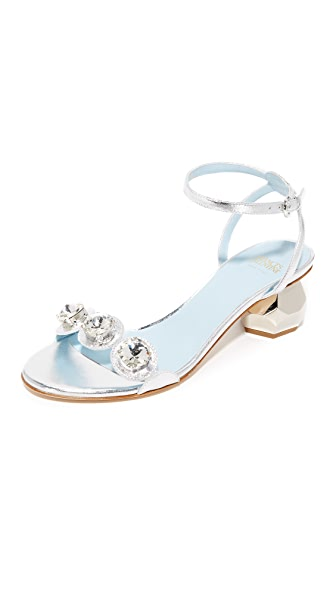 Frances Valentine Beatrix Crystal City Sandals - Silver