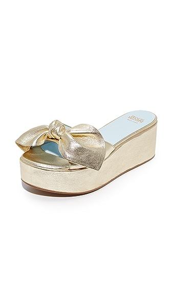 Frances Valentine Darcy Flatform Slides - Gold
