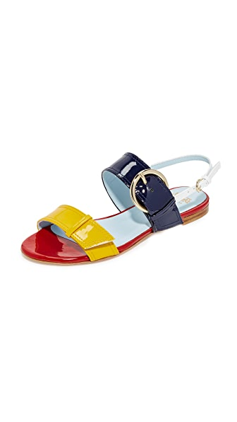 Frances Valentine Faith Flat Sandals - Yellow/Royal/White