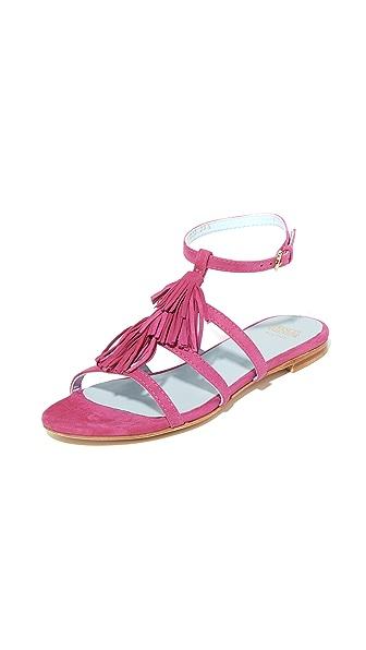 Frances Valentine Mia Fringe Sandals - Fuchsia