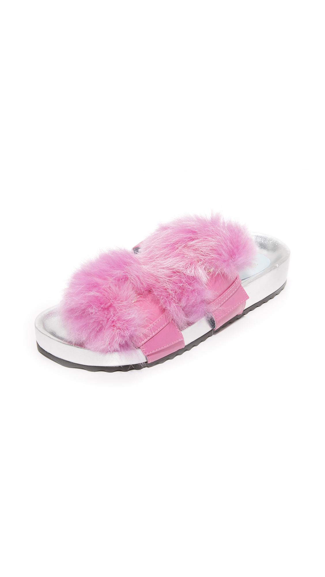 Frances Valentine Marie Fur Slides - Pink