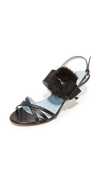 Frances Valentine Lisette Fur Sandals - Black