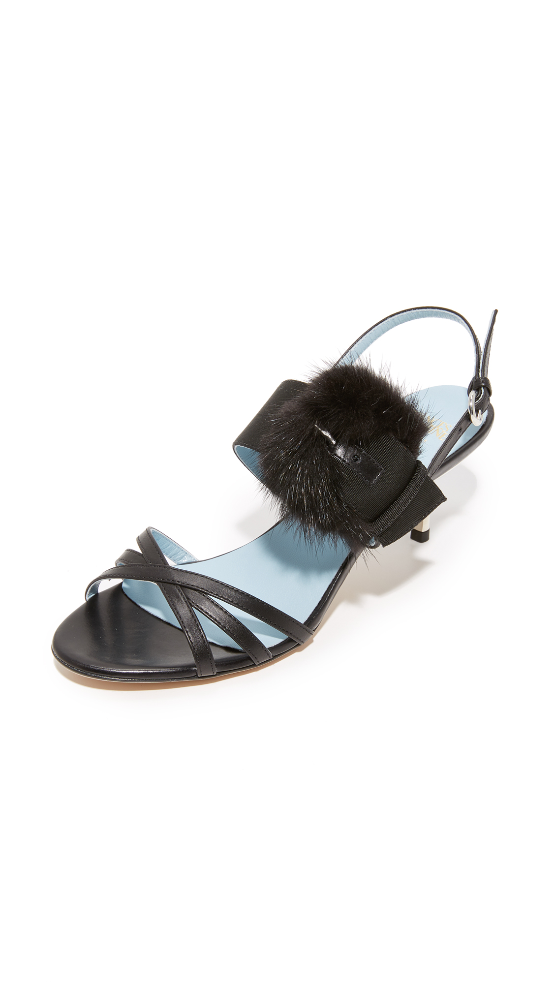 Frances Valentine Lisette Fur Sandals - Black