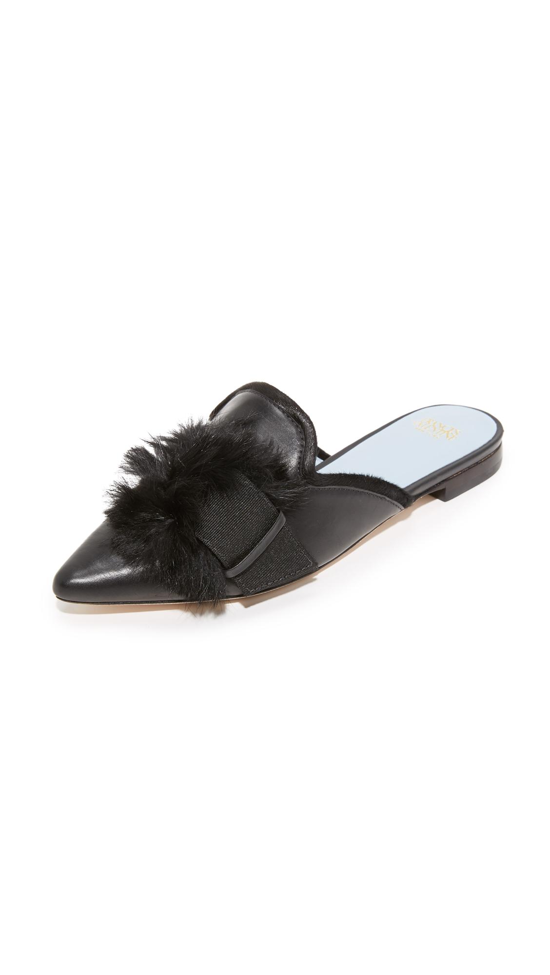 Frances Valentine Paulette Fur Mules - Black