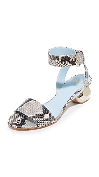 Frances Valentine Layla Jeweled City Sandals - Black/Bone