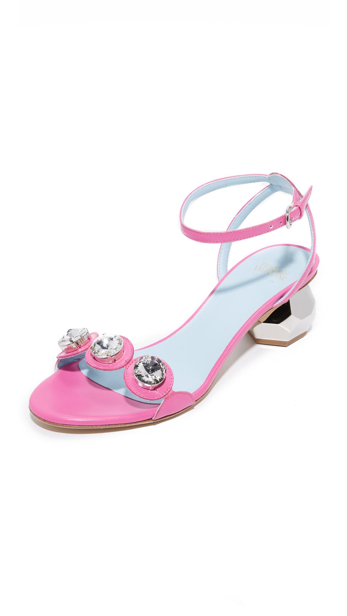 Frances Valentine Beatrix Jeweled City Sandals - Pink