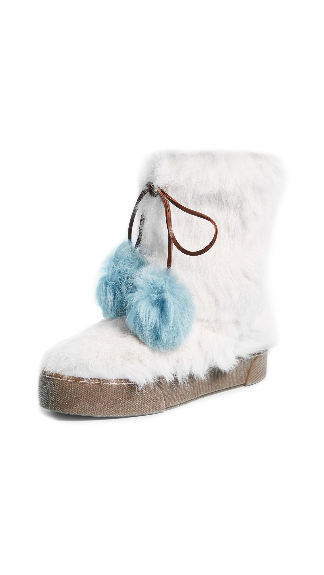 Frances Valentine Samantha Fur Boots - White/Blue