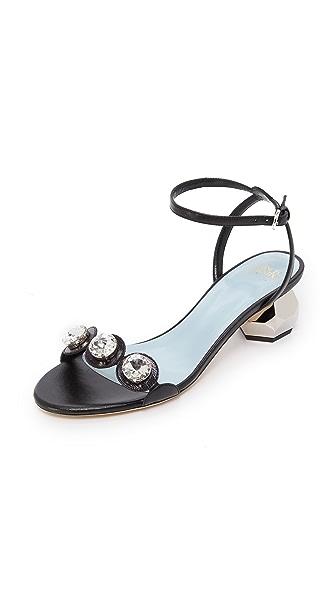 Frances Valentine Beatrix Crystal City Sandals In Black