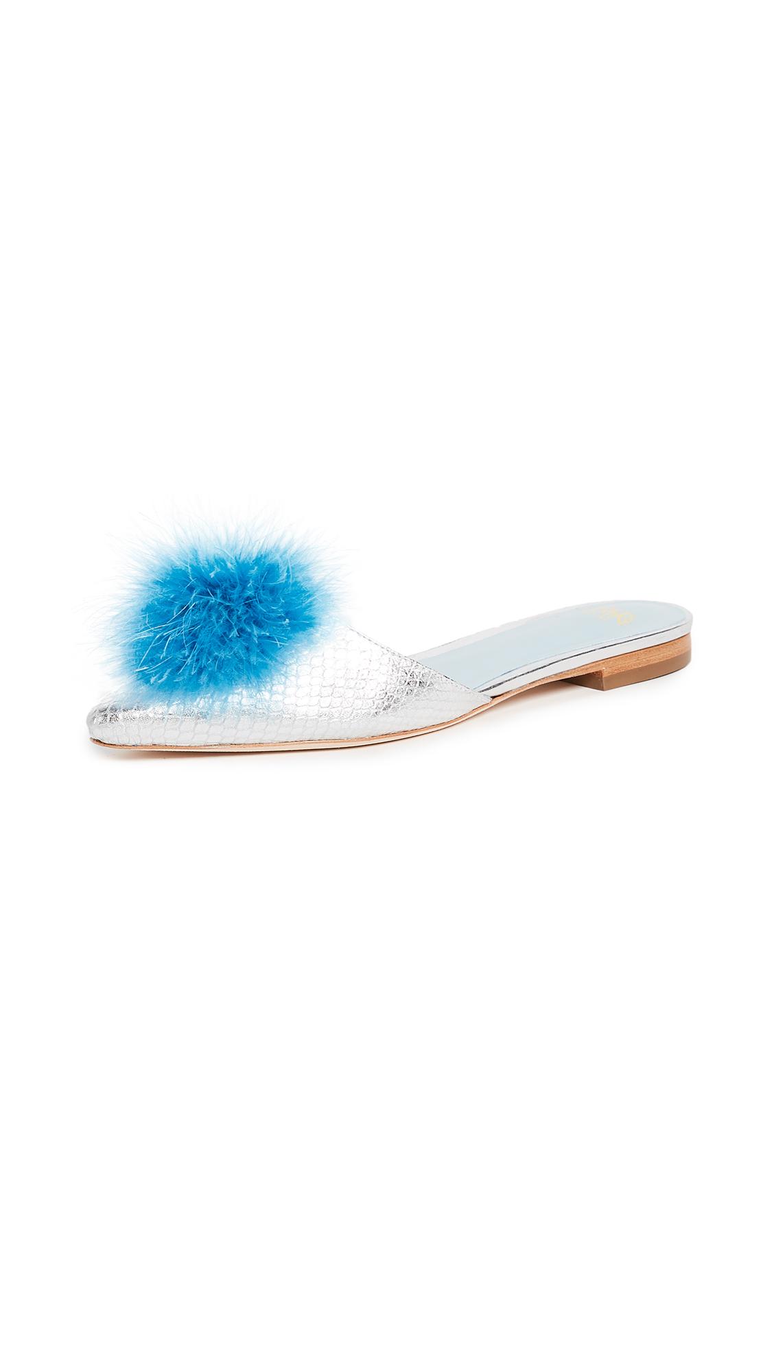 Frances Valentine Pauline Mule Slides - Light Blue