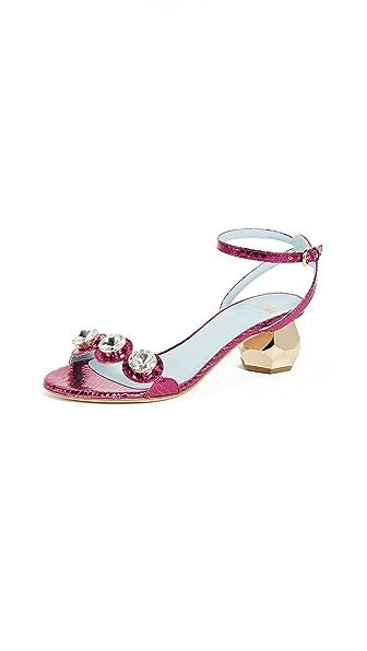 Frances Valentine Beatrix City Sandals In Fuchsia