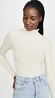 Good American Ruched Turtleneck Thong Bodysuit