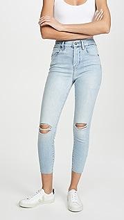 Good American Good Waist Crop Frayed Hem Jeans