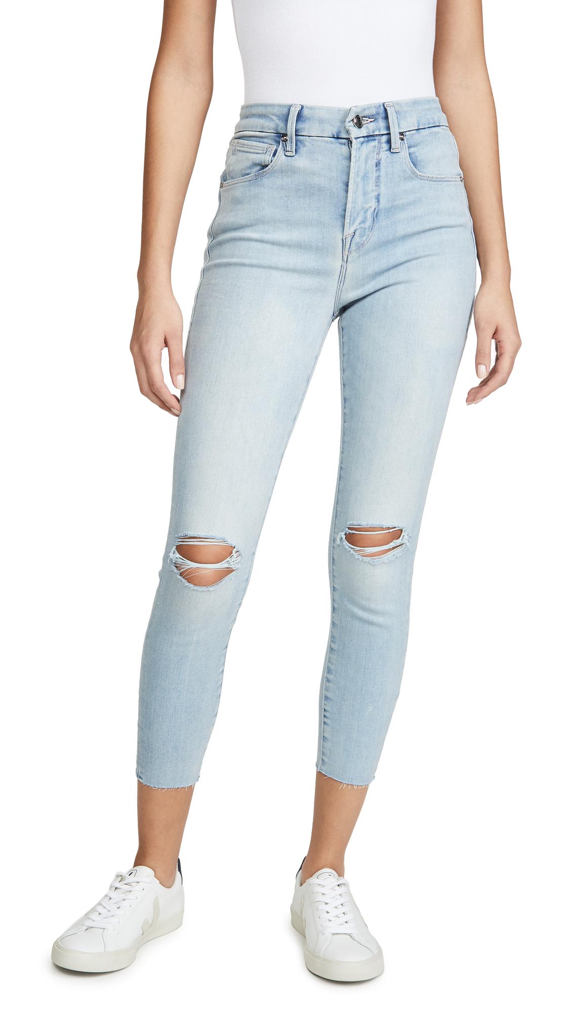 Buy Good American online - photo of Good American Good Waist Crop Frayed Hem Jeans