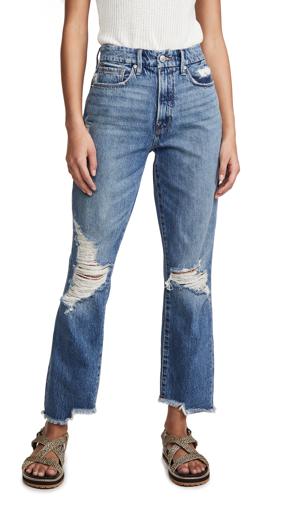 Buy Good American online - photo of Good American Good Vintage Jeans With Side Step