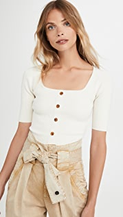 Good American Button Front Sweater Top