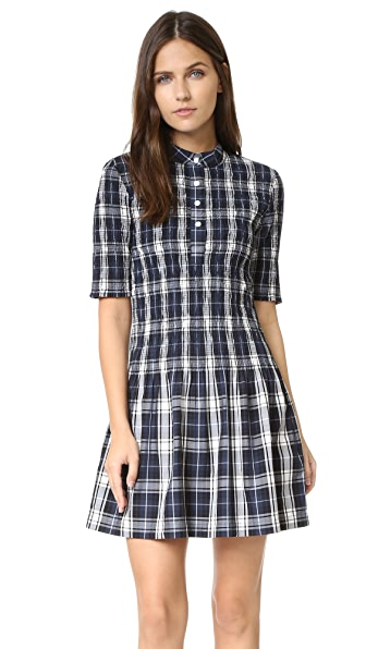 Ganni Plaid Smocked Dress