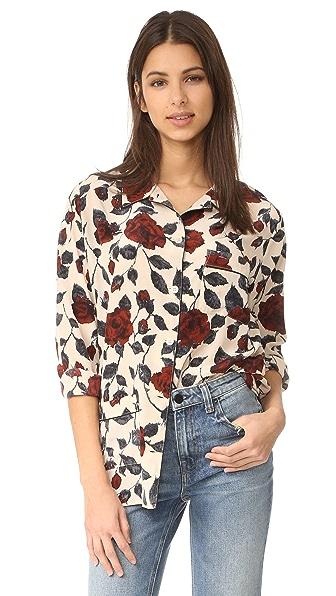 Ganni Elmira Silk Kimono Blouse In Brick Rose